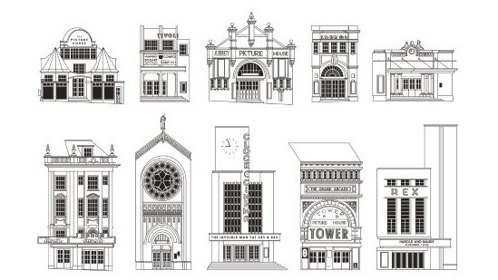 Illustration line drawings of cinema frontages