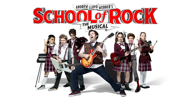 Poster for School of Rock showing children in school uniforms holding different instruments and a teacher posing with a guitar in the front.