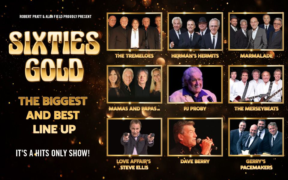 Poster for Sixties Gold showing headshots of the acts performing.