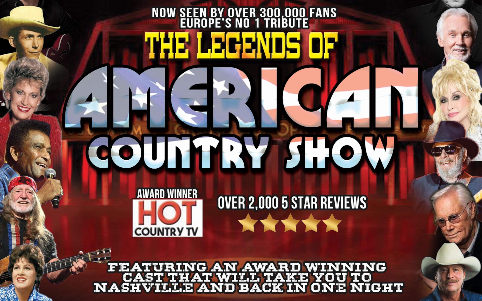 Poster for Legends of American Country showing images of famous country singers.