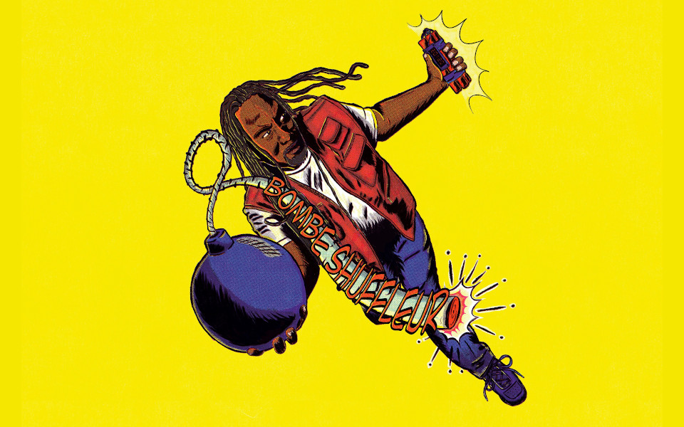 Cartoon of Reginald D Hunter holding a bomb in one hand and dynamite in the other.