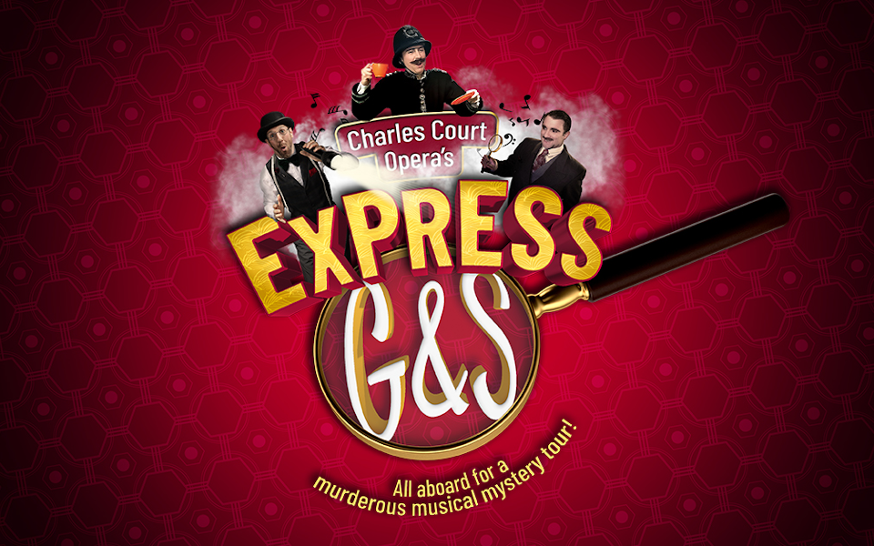 Three men dressed in period costumes (a tailor, a policeman and a detective) appear from over the top of a giant magnifying glass. The word 'Express' sits above the glass with 'G&S' written in it.