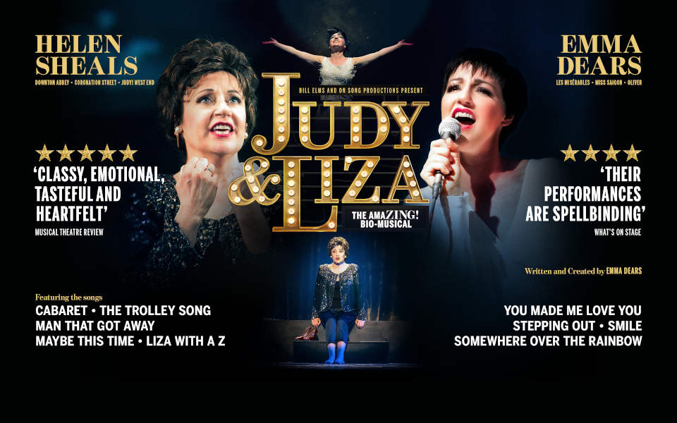 Poster for Judy & Liza showing various pictures of the character singing on stage.