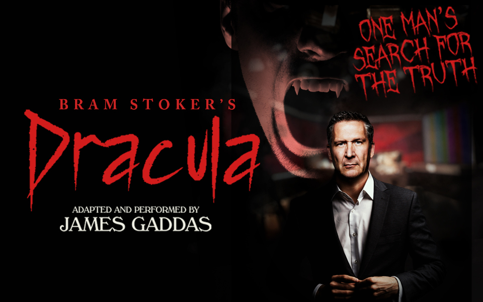 Text reading Dracula with a photo of actor James Gaddas