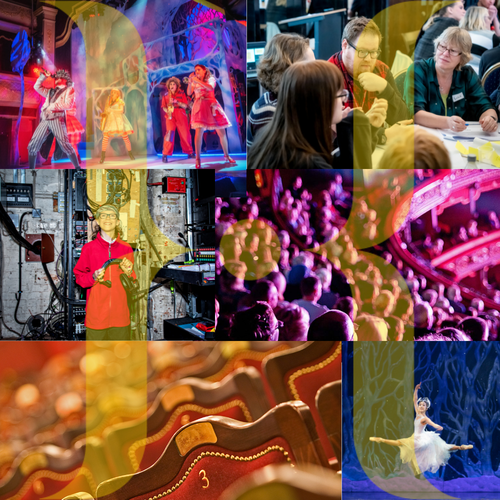 A montage of images showing performances, audiences and staff at Leeds Heritage Theatres
